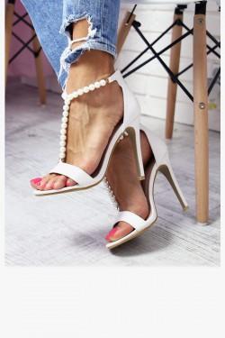 Sandały VANESSA Białe Perełki