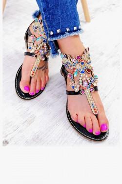 Czarne Sandały Japonki Ozdobione Cyrkoniami 7598