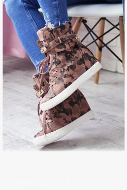 Sneakersy Arly Różowe Moro na Koturnie 6948