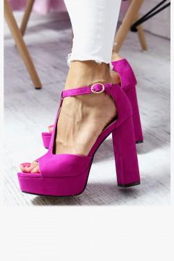 Sandały KATE Różowe na Słupku Zamsz