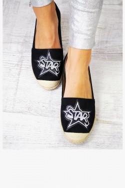 Espadryle Czarne Cekinowy Napis STAR 7546
