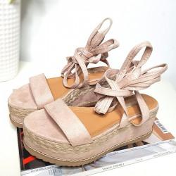 Beżowe Sandały Na Platformie Wiązane Na Kostce 8319