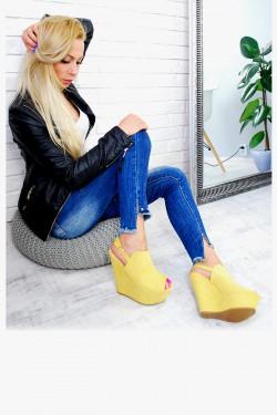 Żółte Zamszowe Sandały na Koturnie 7597