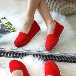 Czerwone Zamszowe Wyższe Espadryle 8411