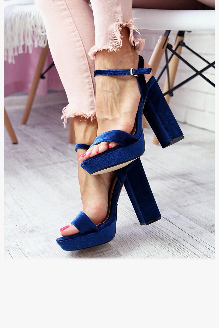 Sandały AGNES Granatowe - Welur