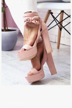 Sandały NORA Różowe na Słupku Zamsz