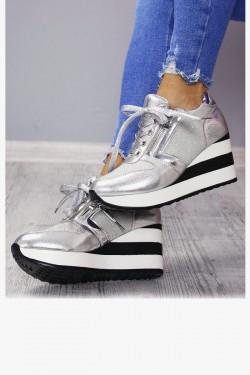 Sneakersy Leo Srebrne Koturny 7155