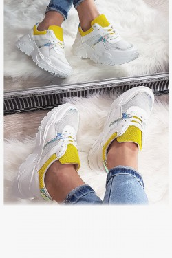Trampki Białe Adidasy Żółte Wstawki 8141