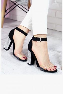 Sandały Czarne Cyrkoniowy Słupek 7353