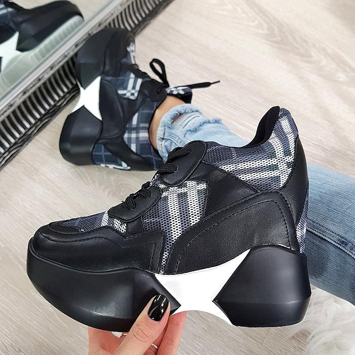 Zamszowe Trampki Sneakersy Czarne Adidasy Panterkowa