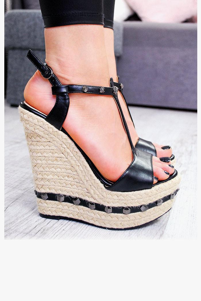 Czarne Sandały na Sznurkowej Koturnie Piramidki 7526