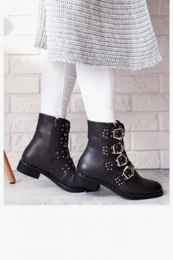 Botki CARLA Grey Worker Boots