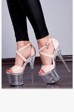 Sandały Beżowe Lakierowane Pole Dance 7946