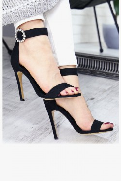 Czarne Sandały na Szpilce Klamra w Cyrkonie 7406