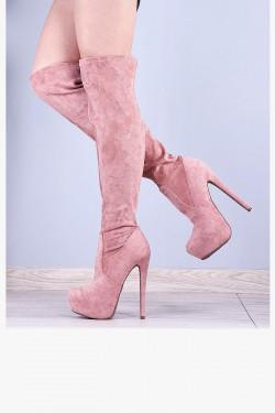 Różowe Zamszowe Muszkieterki na Szpilce 8105