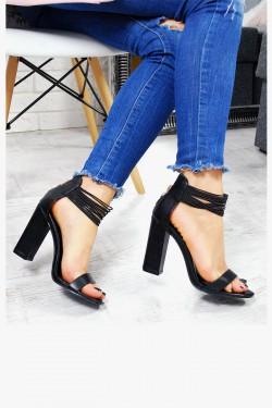 Sandały Czarne Delikatne Gumeczki Zamsz 7517