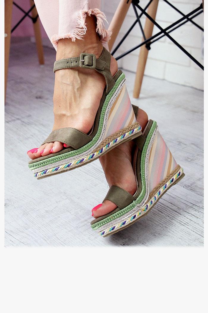 Sandały PAULA Zielone Kolorowa Koturna