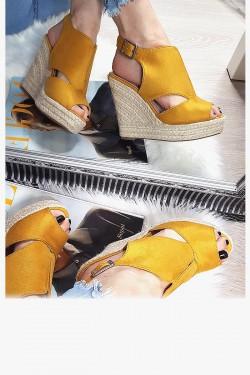 Zamszowe Żółte Sandały Sznurkowy Koturn 8304