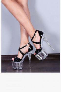 Sandały Czarne Lakierowane Pole Dance 7882