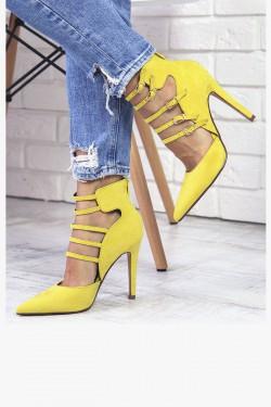 Żółte Czółenka Zamszowe Szpic 7300