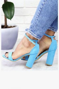 Błękitne Sandały - Zamszowe na Słupku 7350