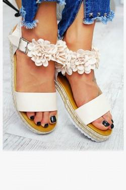 Sandały Beżowe Pasek w Kwiatki 7792