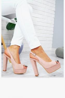 Sandały Różowe Zamszowe na Słupku 7791