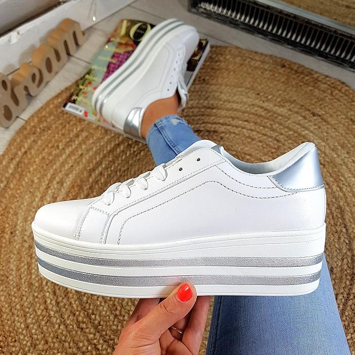 Trampki Sneakersy Biało Srebrne Eko-Skóra Creepersy 8838