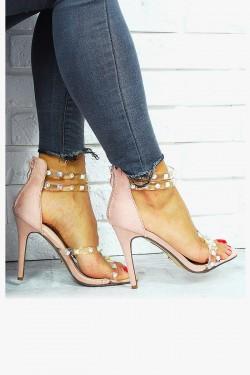 Zamszowe Różowe Sandały Silikonowe Paski 7660