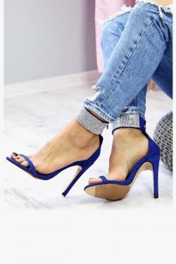 Kobaltowe Sandały Opalizujące Cyrkonie 7386