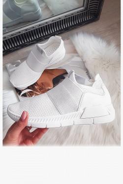 Białe Siatkowe Wsuwane Adidasy 2 Gumy 8324