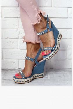 Sandały NEOMI Niebieskie Złote Ćwieki Jeans