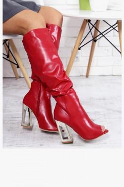 Kozaki Debby01 Czerwone Drapowane Peep Toe 7180