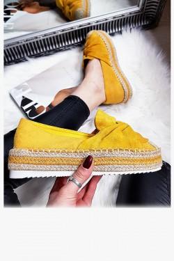 Espadryle Żółte Zamszowe Kokarda 8308