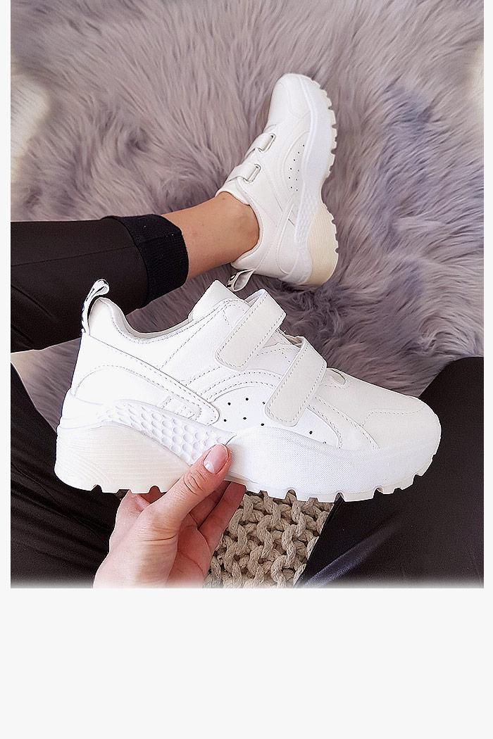 Trampki Białe EkoSkóra Adidasy na Rzepy 8034