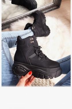 Sneakersy Czarne Zabudowane Adidasy 8171
