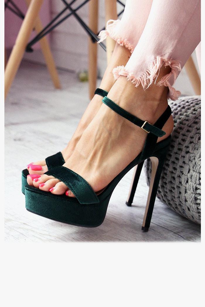 Sandały CECILIA Zielone - Pasek na Kostkę