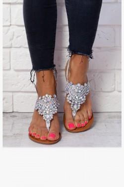 Sandały AURORA Srebrne Japonki Zdobione Cyrkoniami