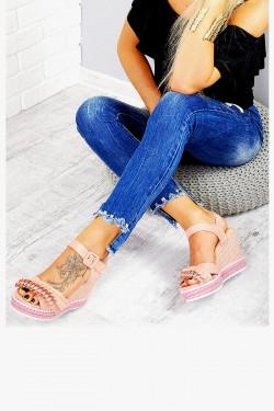 Różowe Zamszowe Sandały Koturna 7703