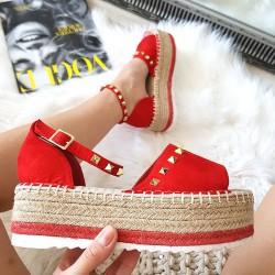 Czerwone Zamszowe Sandały Espadryle 8394