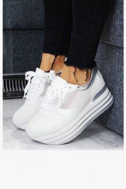 Ażurowe Białe Adidasy na Koturnie  7533