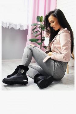 Sneakersy Claudette Modne Czarne Futro 6946