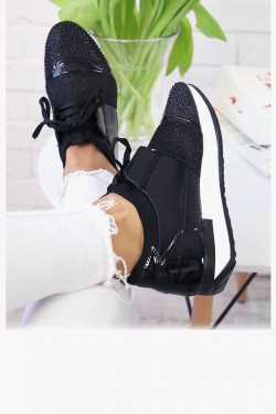 Czarne Trampki Błyszczące Adidasy 7307
