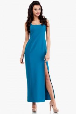 Sukienka maksi z rozcięciem na boku turkusowa