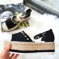 Czarne Zamszowe Sandały Espadryle 8403