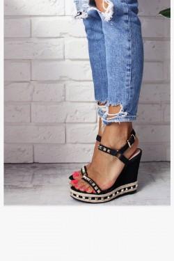 Sandały NEOMI Czarne Złote Ćwieki Jeans