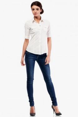 Klasyczna taliowana koszula z krótkim rękawem ecru