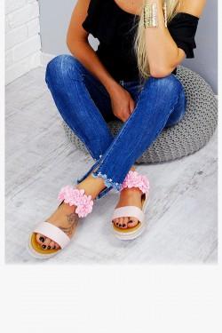 Sandały Różowe Pasek w Kwiatki 7802