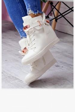 Sneakersy Karon Białe Na Koturnie - Kłódka 6920