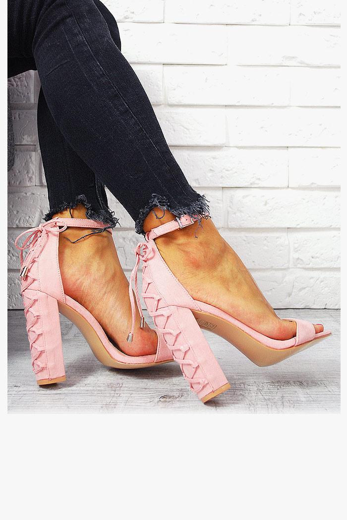 Sandały Różowe Gorsetowy Słupek Zamsz 7672